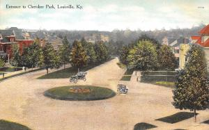 Louisville KY~Vintage Cars Raise Dust Around Circle Drive~Homes~1908 Postcard