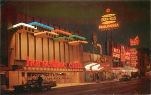 1950s Night Neon Horseshoe Club Virginia Street Postcard Reno Nevada Sierra 1122