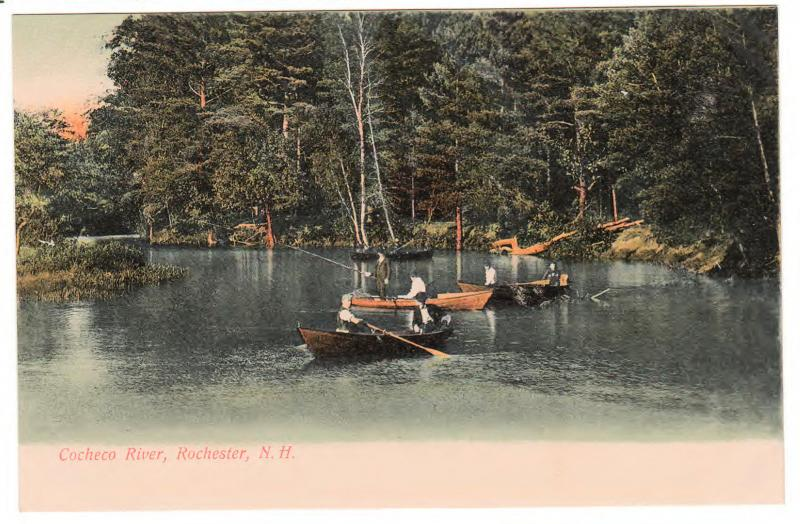 BOATING ON THE COCHECO RIVER ROCHESTER NEW HAMPSHIRE ANTIQUE POSTCARD