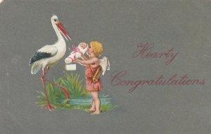 CONGRATULATIONS, 1900-10s; Cherub handing newborn to Stork