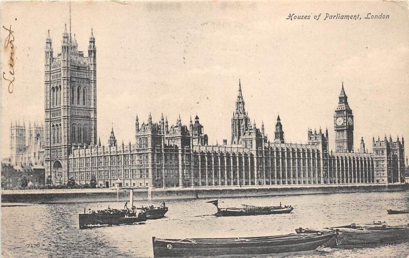 B86123 Ship Bateaux House Of Parliament London Uk Hippostcard