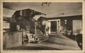Southern Pines NC Hotel Foyer c1915 Postcard