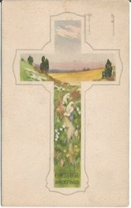 Cross Frame Women picking flowers in a meadow 1920 Join The Navy Postage Cancel