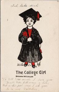 The College Girl Graduate Cap Gown D. Hillson Art c1908 Postcard F2