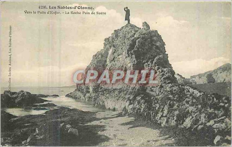 Old Postcard Les Sables d'Olonne To the Well of Hell La Roche Sugarloaf