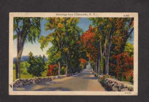 NY Greetings from Clintonville New York Linen Postcard Scenic Road