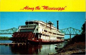 SHOWBOAT RIVER Sightseeing Steamer Ship On The Mississippi River CHROME POSTCARD
