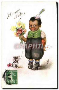 Postcard Old Negro color Child Dog