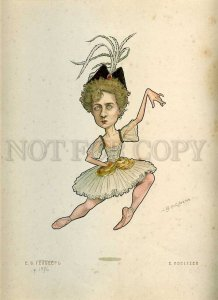 231392 RUSSIAN BALLET Legat Caricature Geltzer 1903 year lithographic poster