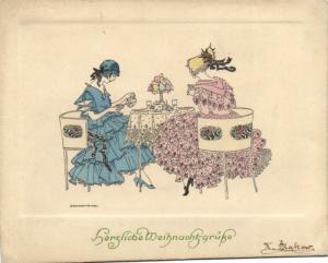 MELA KOEHLER ARTIST SIGNED LARGE SIZED GREETING CARD FROM 1900, M.MUNK, WIEN
