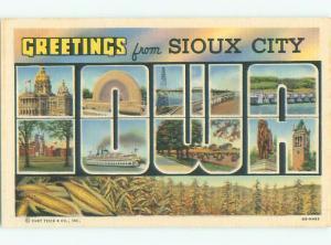 Unused Linen BIG LARGE LETTERS Sioux City Iowa IA Q2643