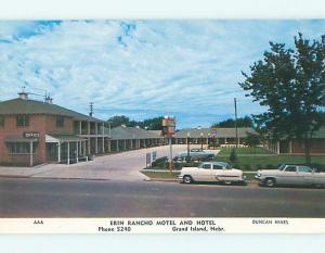 Unused Pre-1980 OLD CARS & ERIN RANCHO MOTEL Grand Island Nebraska NE u1583