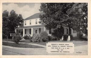 Lumberton North Carolina Burneys Tourist Home Antique Postcard K18358