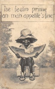 G4/ Black Americana Postcard Comic c1910 Feelin Prime Watermelon Boy 19