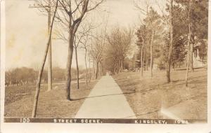 Kingsley Iowa~Street Scene~Bare Trees Along Path~1916 Real Photo Postcard