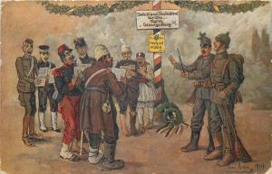 Border seduction choir occupied by Swiss army military satire by Toni Aram 1914