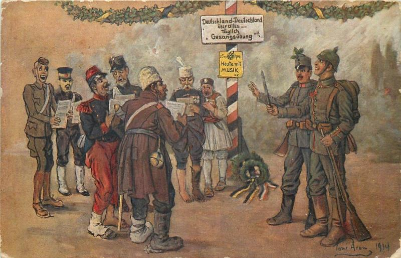 Border seduction choir occupied by Swiss army military satire by Toni Aram 1914