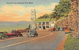 MOHAWK TRAIL MA~HAIR PIN TURN-1940s POSTCARD