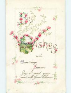 Pre-Linen language of flowers BEST WISHES - SPELLED IN FLOWERS HL5826