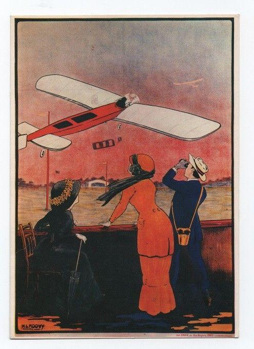 ART POSTCARD GLAMOUR LADY WOMEN & AIRPLANES AIRPLANE AIRCRAFT AIRCRAFTS