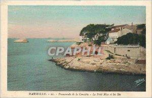 Old Postcard Marseille Corniche Promenade Le Petit Nice and the Islands