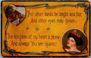 Vintage Romance / Greetings Postcard Tho' Other Lands Be Bright and Fair… 1913
