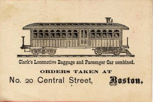 Clark's Locomotive Baggage & Passenger Car, Boston 1881  (4.5 X 3)