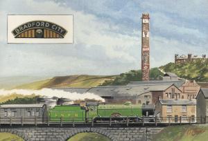 Bradford City Football Club LNER B17 Train 1911 FA Cup Painting Postcard