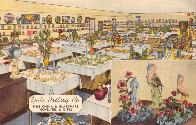 EVANSVILLE INDIANA YULE POTTERY~U S HWY 41~HOMER LAUGHLIN & MORE POSTCARD 1940s