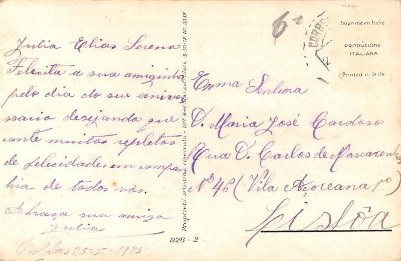 Vintage Fashion Woman smelling Flowers, Illustrator Artist Signed Postcard 1925
