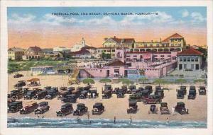 Florida Daytona Beach Tropical Pool And Beach 1937