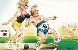 Athletics Test Your Strength Olympic Games Bowling 1970s Comic Humour Postcard