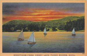 Michigan Greetings From Corey Lake Three Rivers
