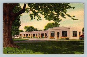 Cleveland OH, Blue Ribbon Motel, Linen Ohio c1951 Postcard