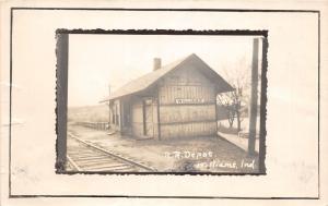 F10/ Williams Indiana RPPC Postcard c1950s Railroad Depot