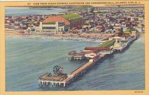 New Jersey Atlantic City View From Ocean Showing Auditorium and Convention Hall