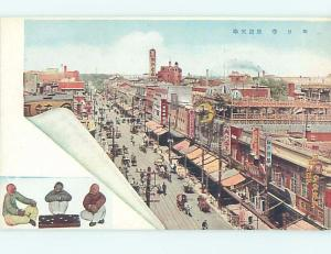 Old Postcard SHOPS ALONG THE STREET Country Of China F5016