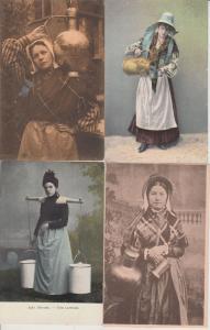 BELGIUM BELGIQUE MILK GIRLS FILLES DE LAIT 18 CPA  (mostly pre-1940)