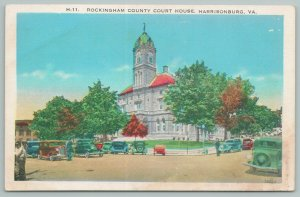 Harrisonburg Virginia~Rockingham County Courthouse & Traffic~Vintage Postcard