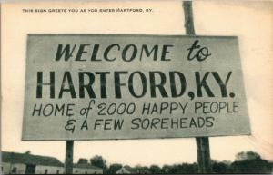 Hartford Kentucky Welcome Sign~2000 Happy People~Few Soreheads~1940s Artvue PC