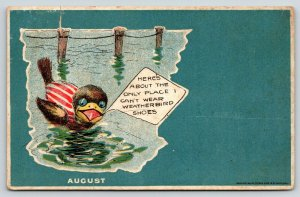 St Louis MO~Peters Shoe Co~Weatherbird Fantasy~August Bird at Beach~1908 Adv PC