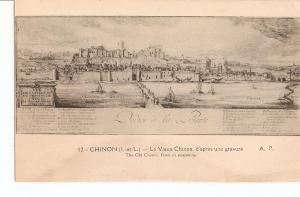 Postal 027023 : Chinon. Le Vieux Chinon. The old Chinon from an engraving