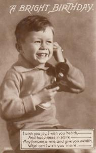 Boy Telephoning To Chat on Antique Radio Microphone Style Old Telephone Postcard