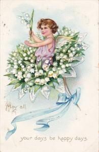 Angel in bouquet of White Bell Lillies, Blue Ribbon, May all your days be ha...