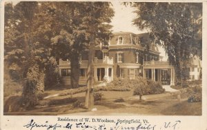 F86/ Springfield Vermont RPPC Postcard 1910 Residence of W.D. Woolson