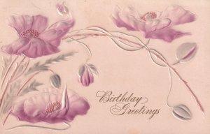 BIRTHDAY, PU-1908; Greetings, Embossed pink flowers
