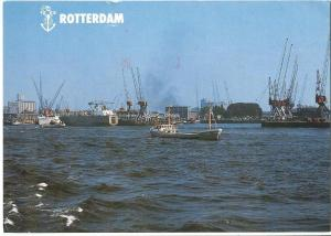 Netherlands, Rotterdam, Harbor and boats, 1987 used Postcard