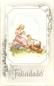 Girl with lamb. Boy playing flute Lovely Spanish Greetings PC  1940s