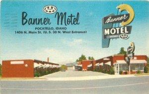 Banner Motel roadside Pocatello Idaho 1963 Postcard Lynx Products 7390