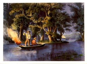 Currier & Ives (Repro) - Black Bass Spearing -  Size: 6.625 X 4.625